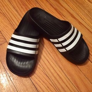 Men's Adidas Black Duramo Three Stripe Slides